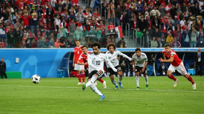 Mohammed Salah scoring penalty kick against Russia at World Cup