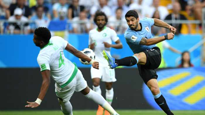 Luis suarez scored the winning goal on his 100th international match to secure Uruguay Pre Quarter berth at FIFA world cup
