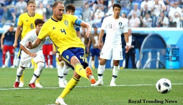 Sweden captain Andreas Granqvist score penalty goal aginst Korea  in fifa world cup