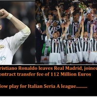Cristiano Ronaldo joined Juventus for contract transfer fee of 112 Million Euros - Now play for Italian Seria A league,  Real madrid lost the El classico upper edge in La liga