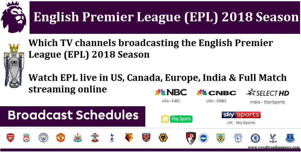 Which TV channels broadcasting the English Premier League
